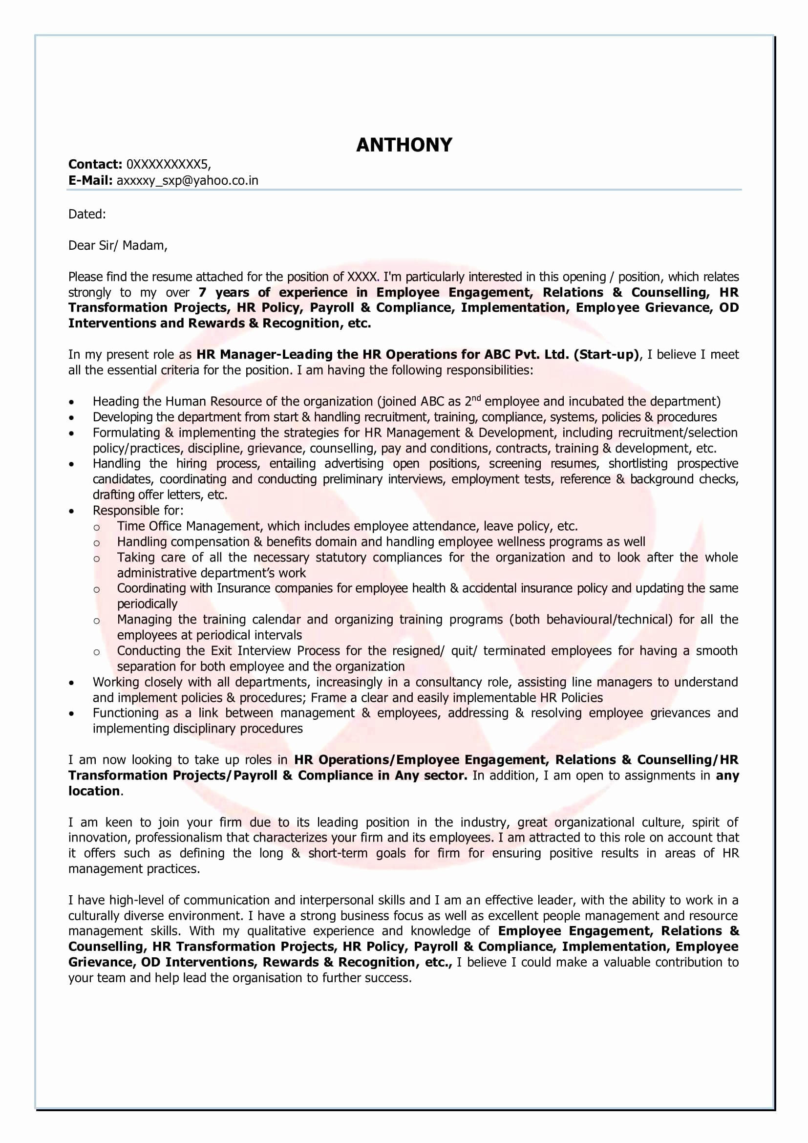 Conditional Offer Of Employment Letter Template - Job Fer Letter for Accountant Valid Cover Letter for Accounting