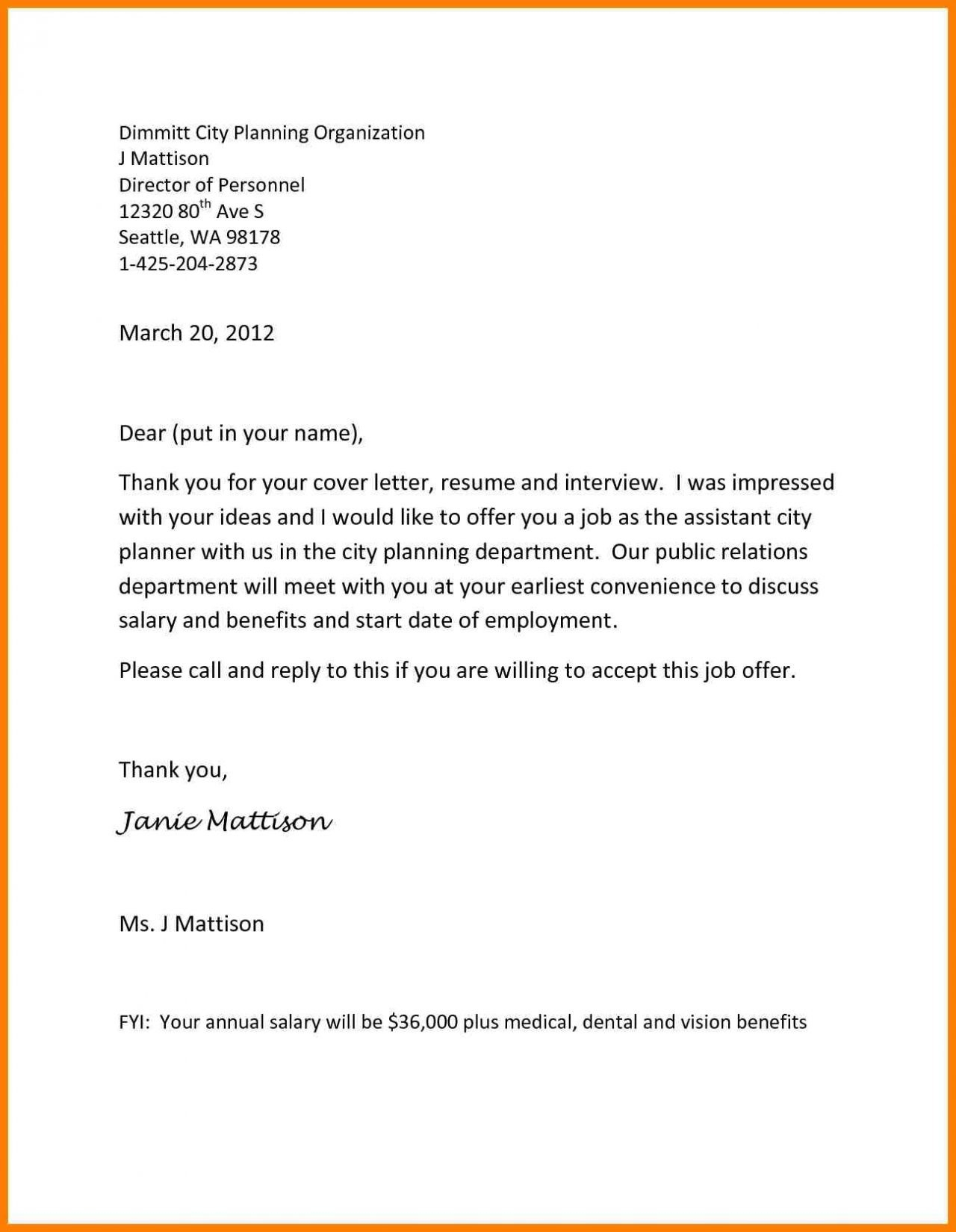 Employment Job Offer Letter Template - Job Fer Letter Template Us Copy Od Consultant Cover Letter Fungram