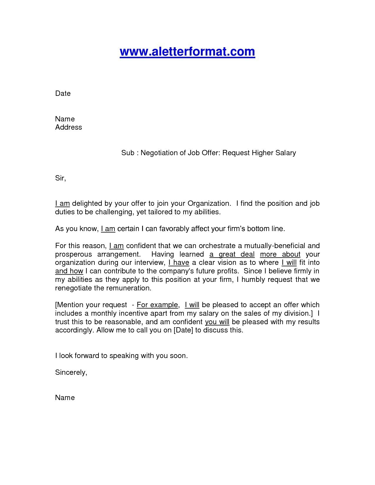 Contract Negotiation Letter Template - Job Fer Pay Negotiation Letter Archives Vichi Co Valid Job