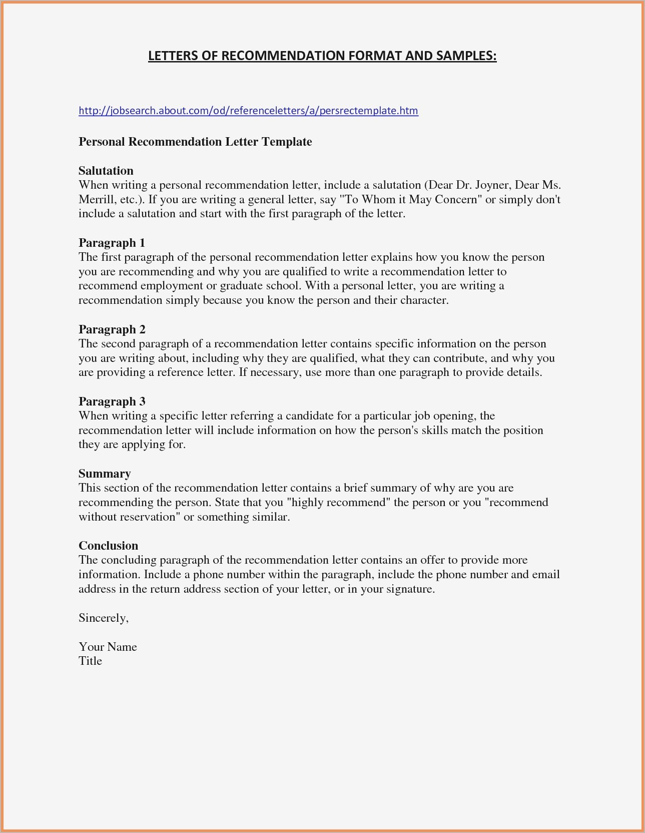 Free Letter Of Recommendation Template - Job Letter Re Mendation Template Best Free Letter Re Mendation