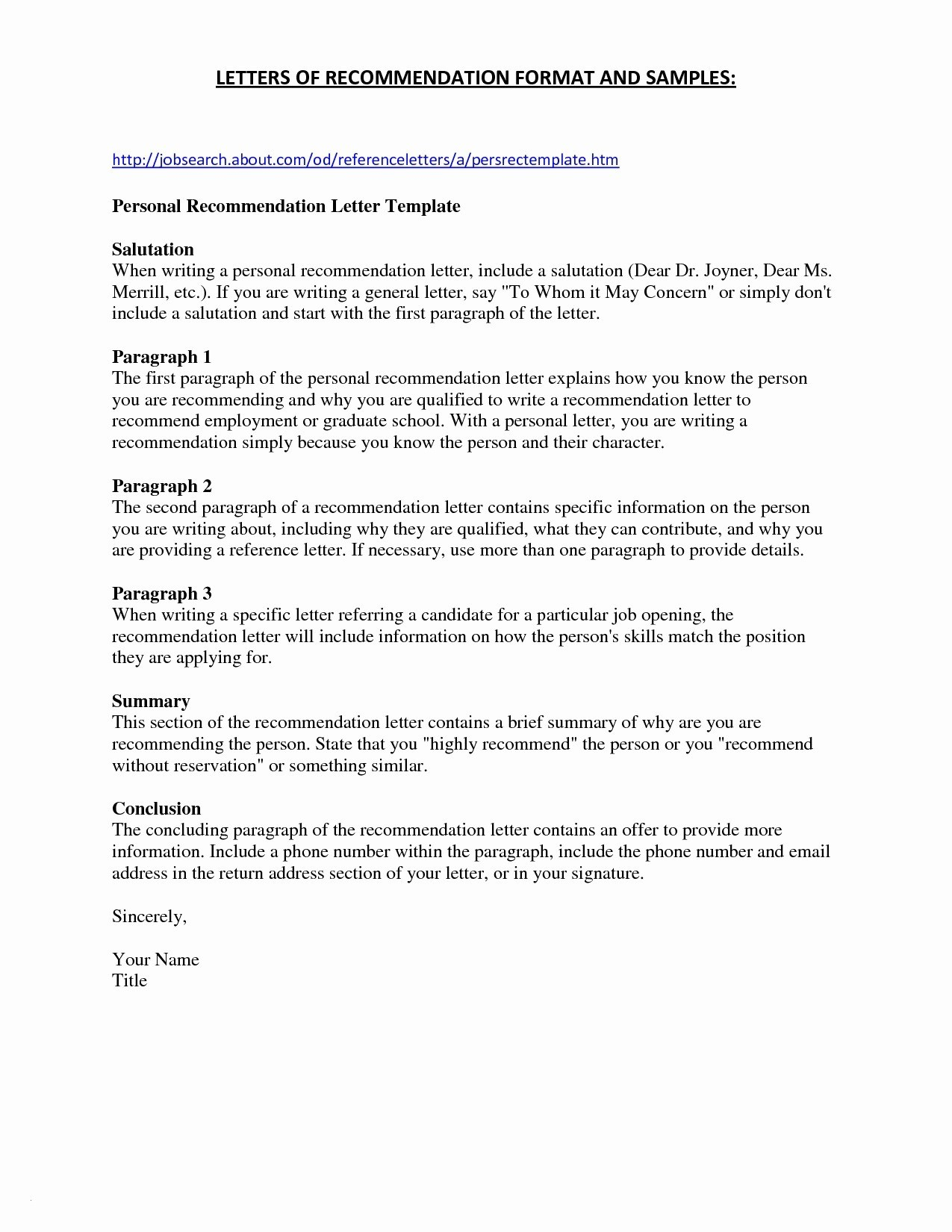 Letter Of Recommendation Template Word - Job Re Mendation Letter Best Bination Resume formats Unique Resume