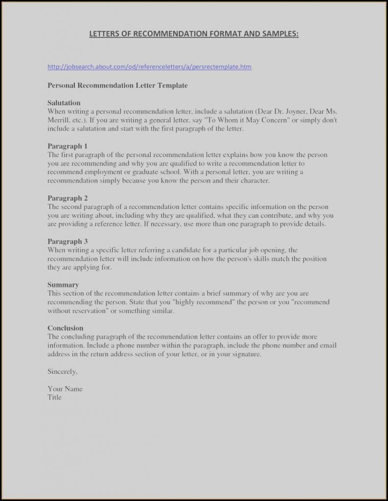 Generic Reference Letter Template - Job Re Mendation Letter Template Valid 1 Page Resume Templates