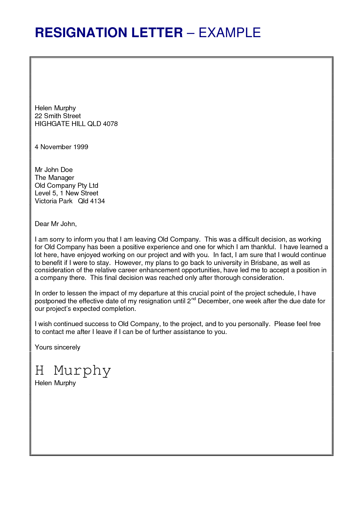 resignation letter format template examples letter templates