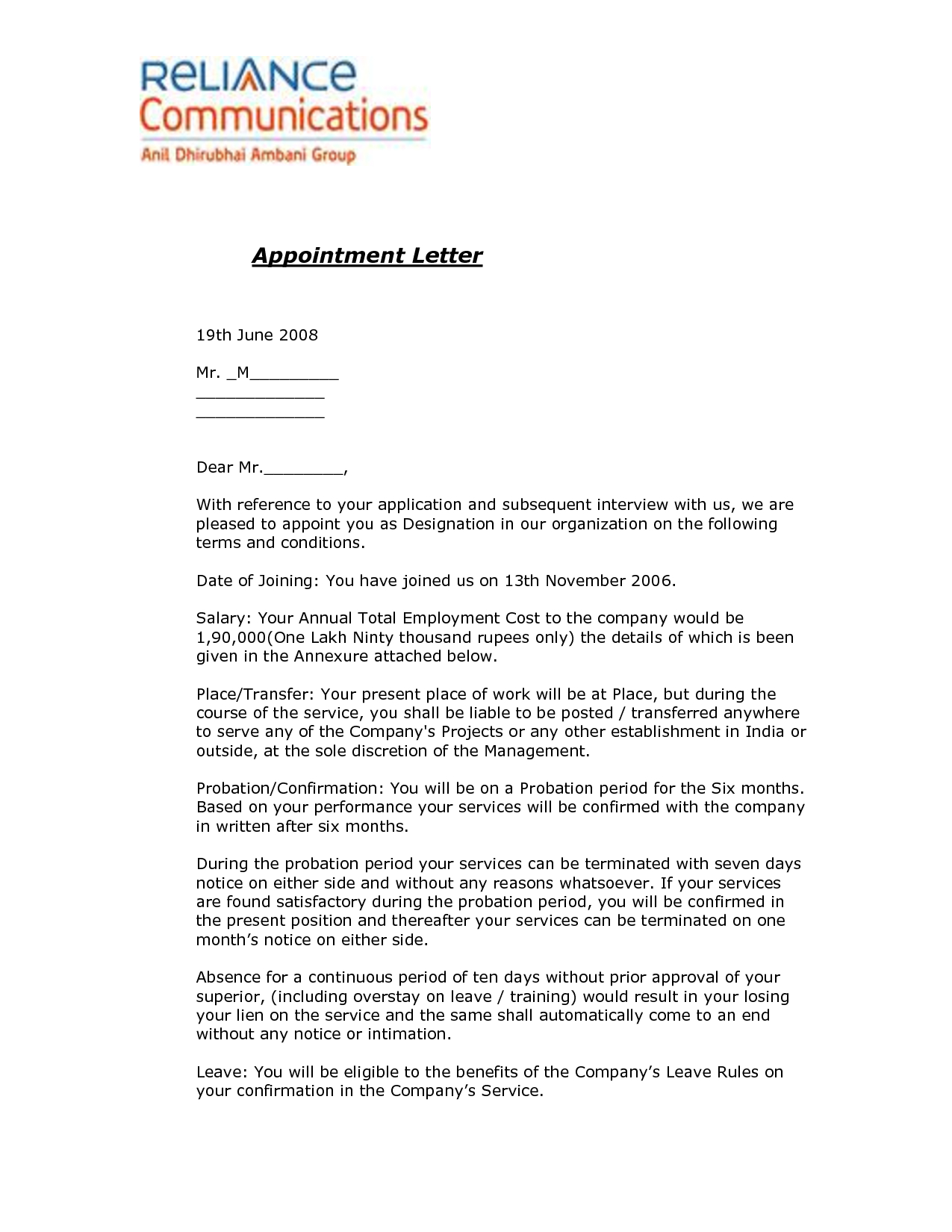 Real Estate Offer Letter Template - Joining Letter format for Offer Letter format