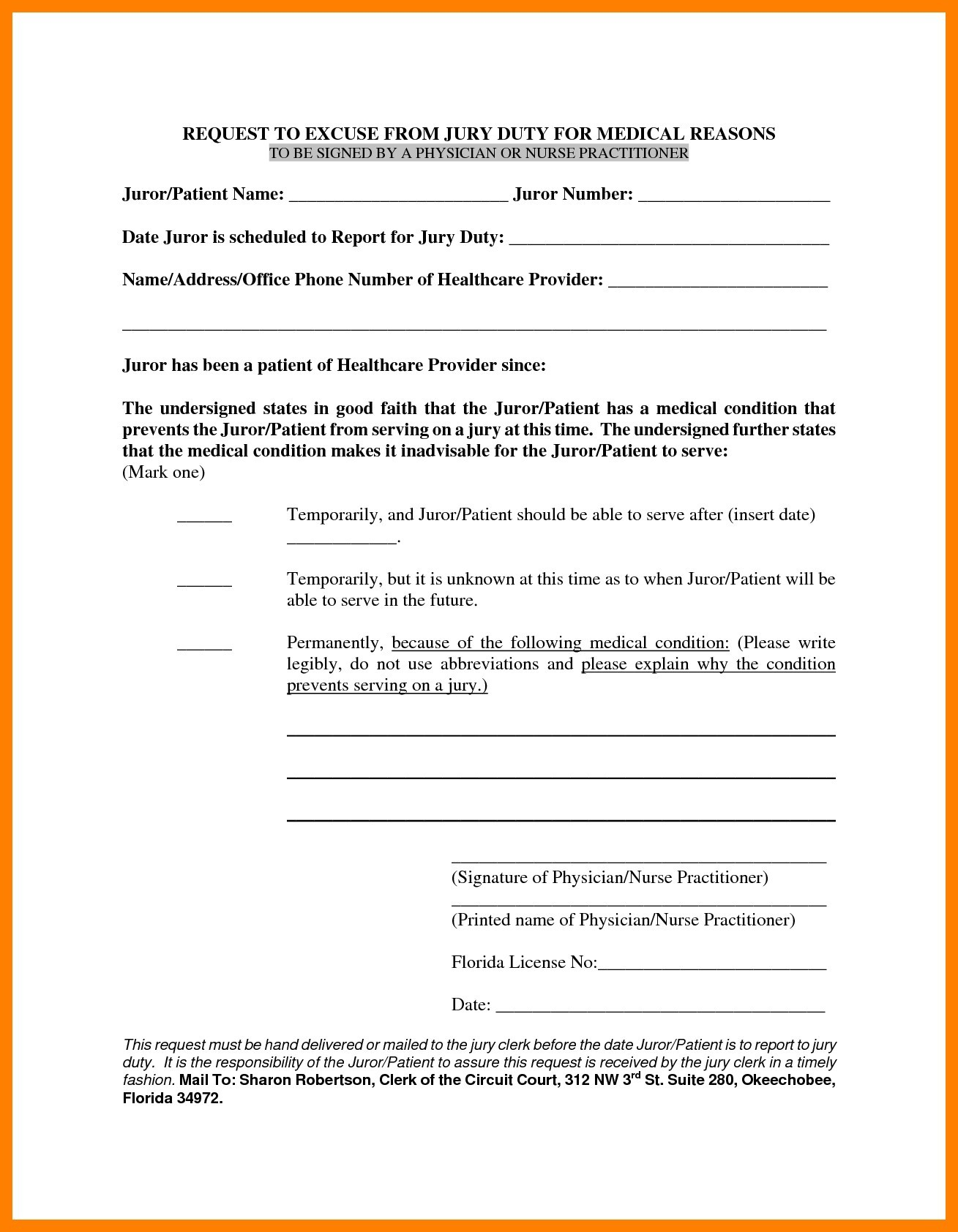 Excuse From Jury Duty Letter From Doctor Template - Jury Duty Exemption Letter Sample Tario