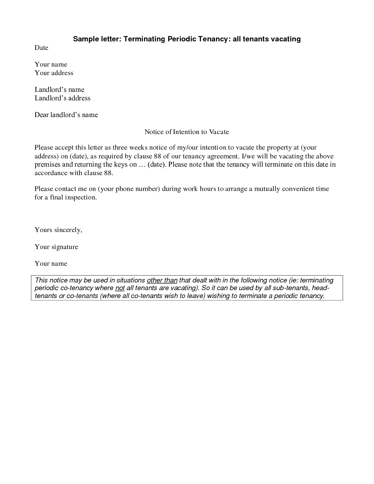 Property Inspection Letter to Tenant Template - Landlord End Tenancy Letter Template