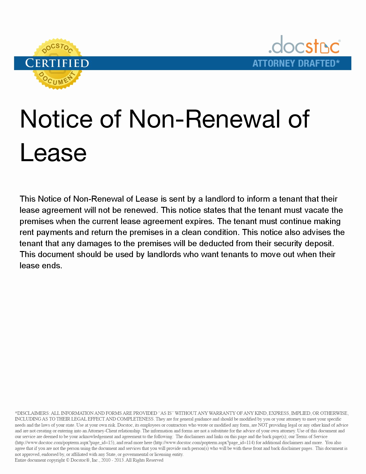 Nonrenewal Of Lease Letter Template - Landlord Termination Lease Letter Awesome Lease Termination