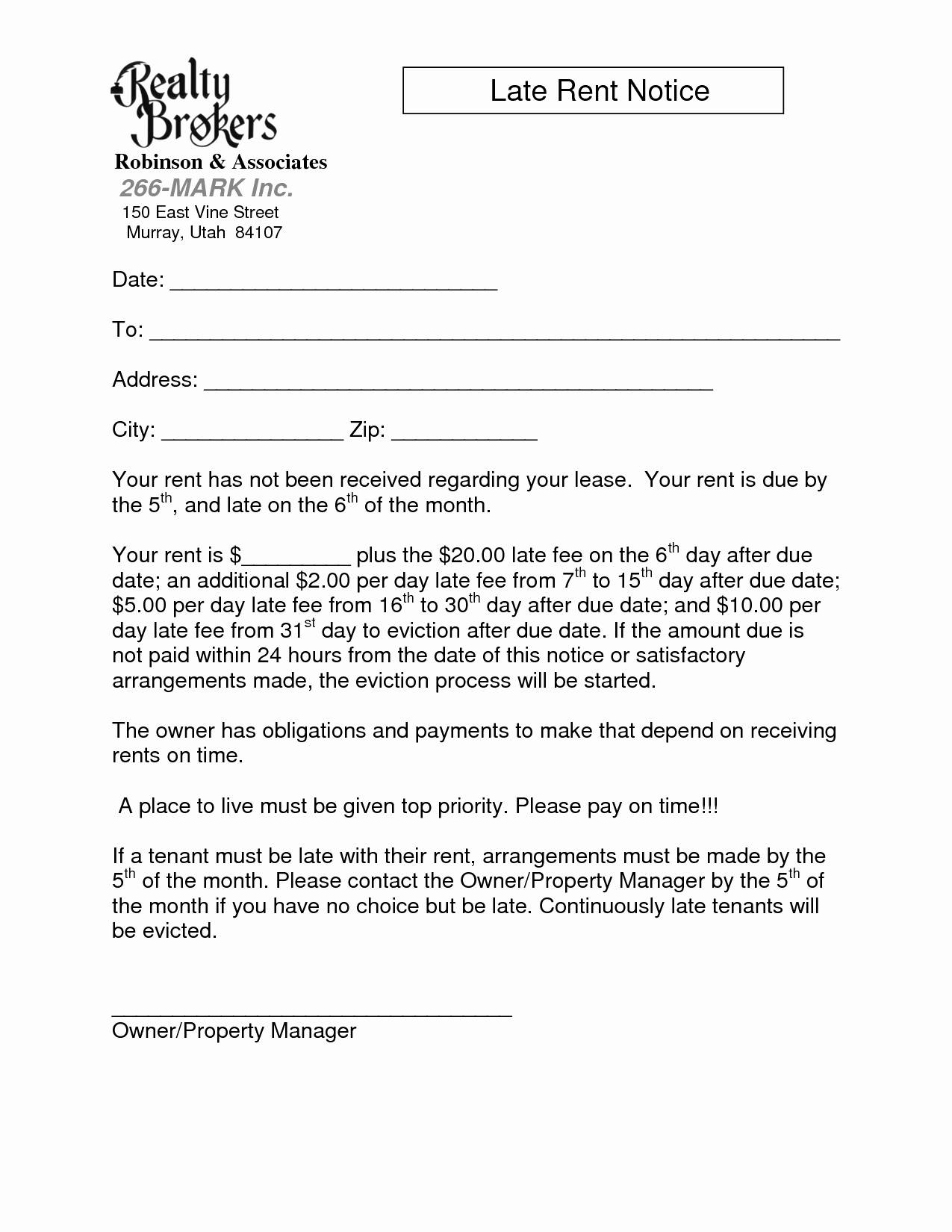 Late Rent Letter Template - Late Rent Notice Template Awesome Kehillaton Kehillaton Resume