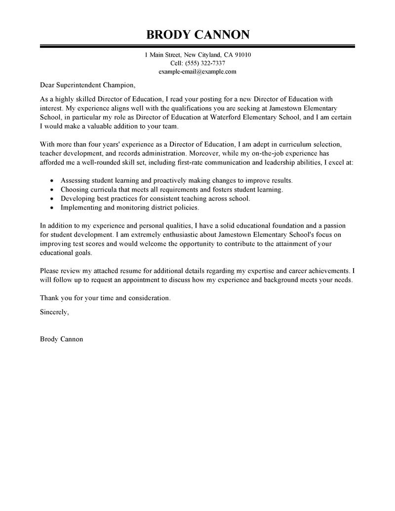 Education Cover Letter Template - Leading Professional Director Cover Letter Examples & Resources