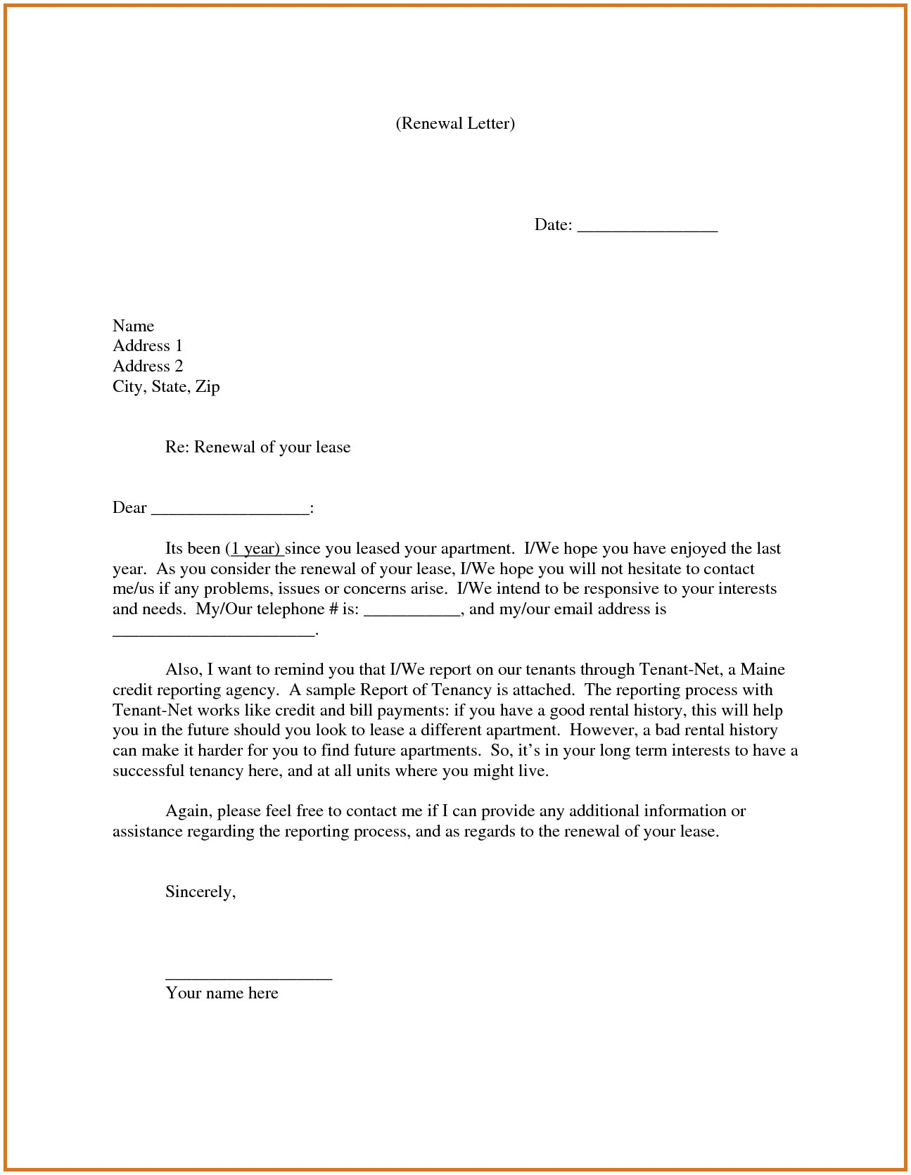 Lease Extension Letter Template - Lease Renewal Letter Lease Renewal Letter – Careyhead
