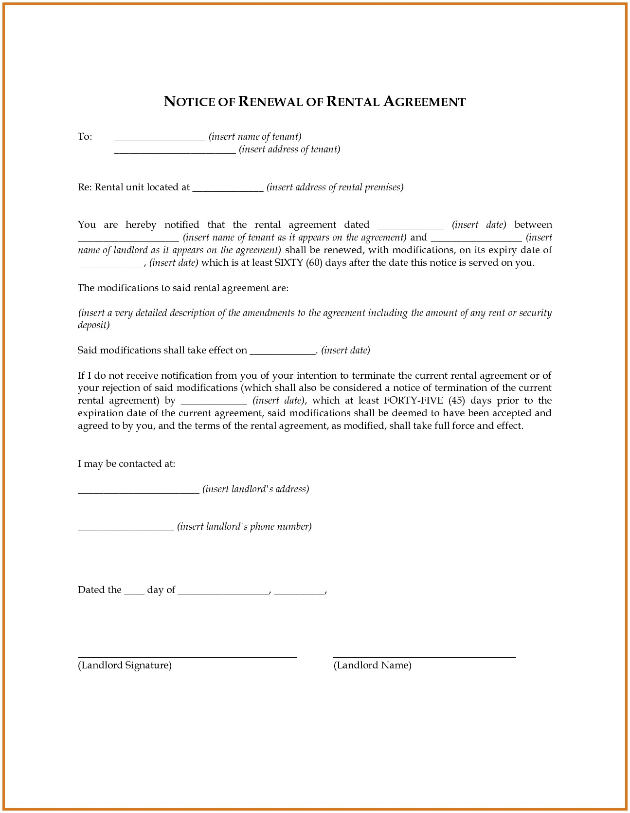 Lease Renewal Letter Template Samples Letter Templates