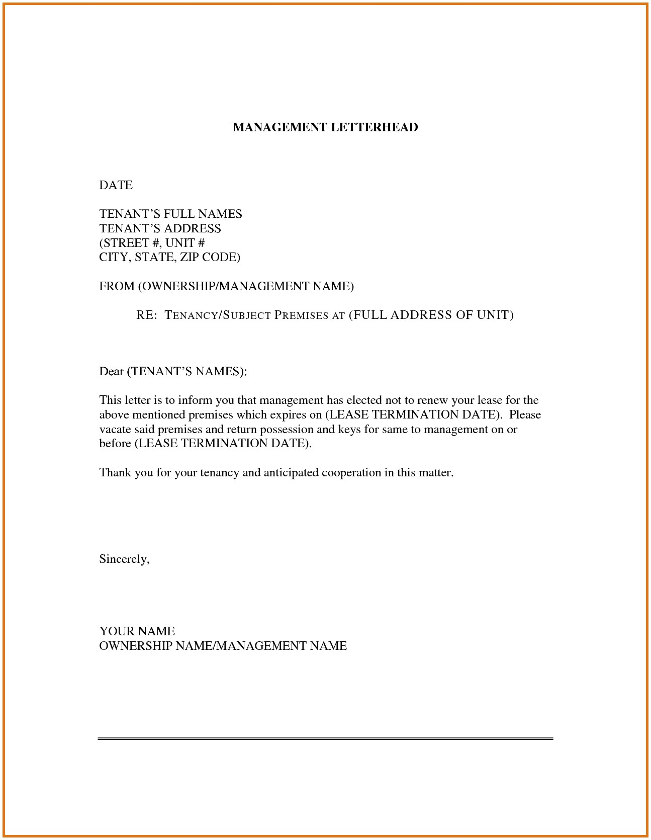 Lease Extension Letter Template - Lease Renewal Letter