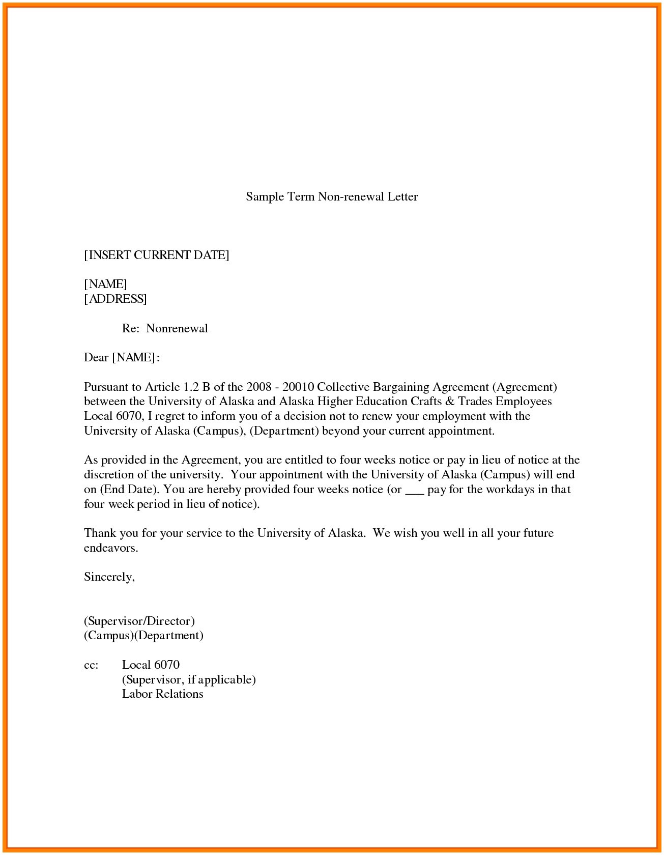 Nonrenewal Of Lease Letter Template - Lease Renewal Letter Renewal Letter Sample Copy Letter format Non