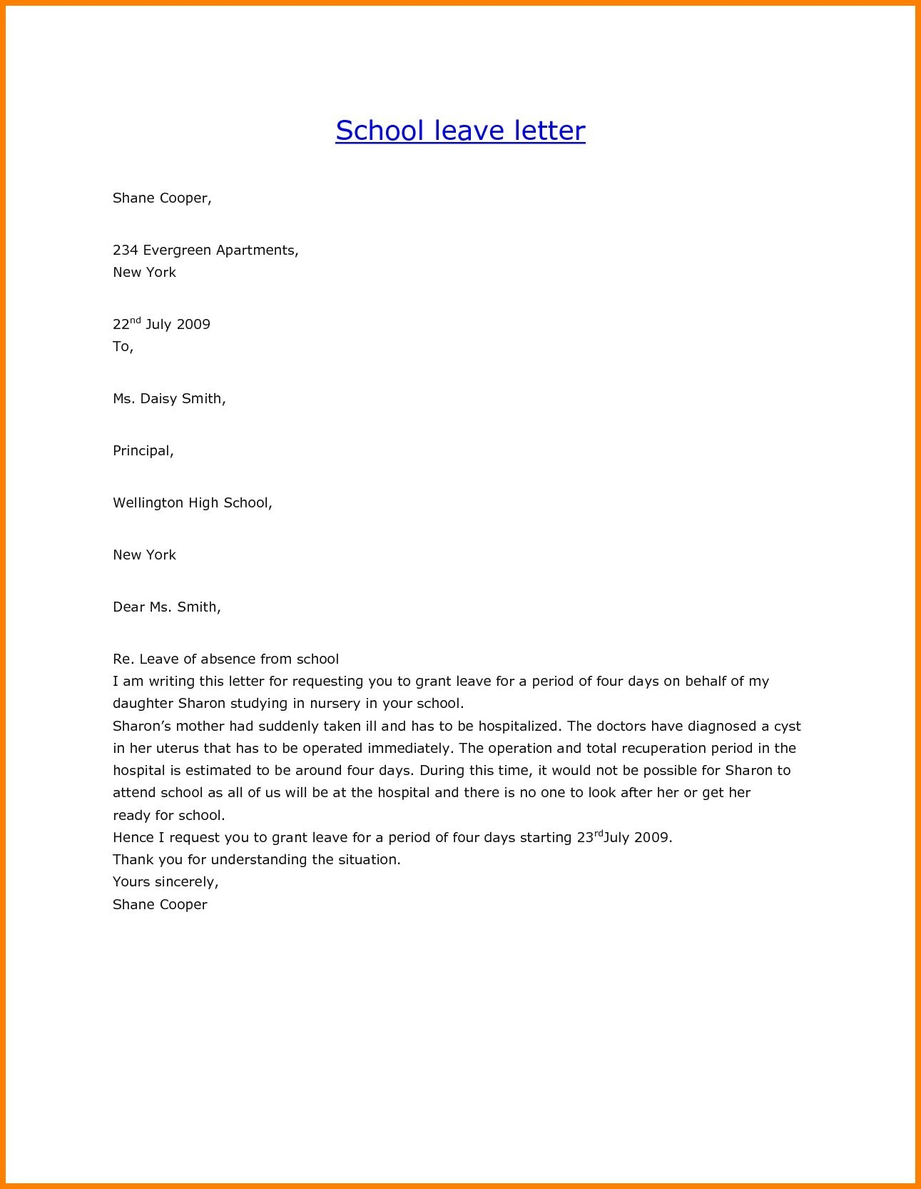 Personal Leave Of Absence Letter Template - Leave Letter format for Employee Best Sample Application for Leave
