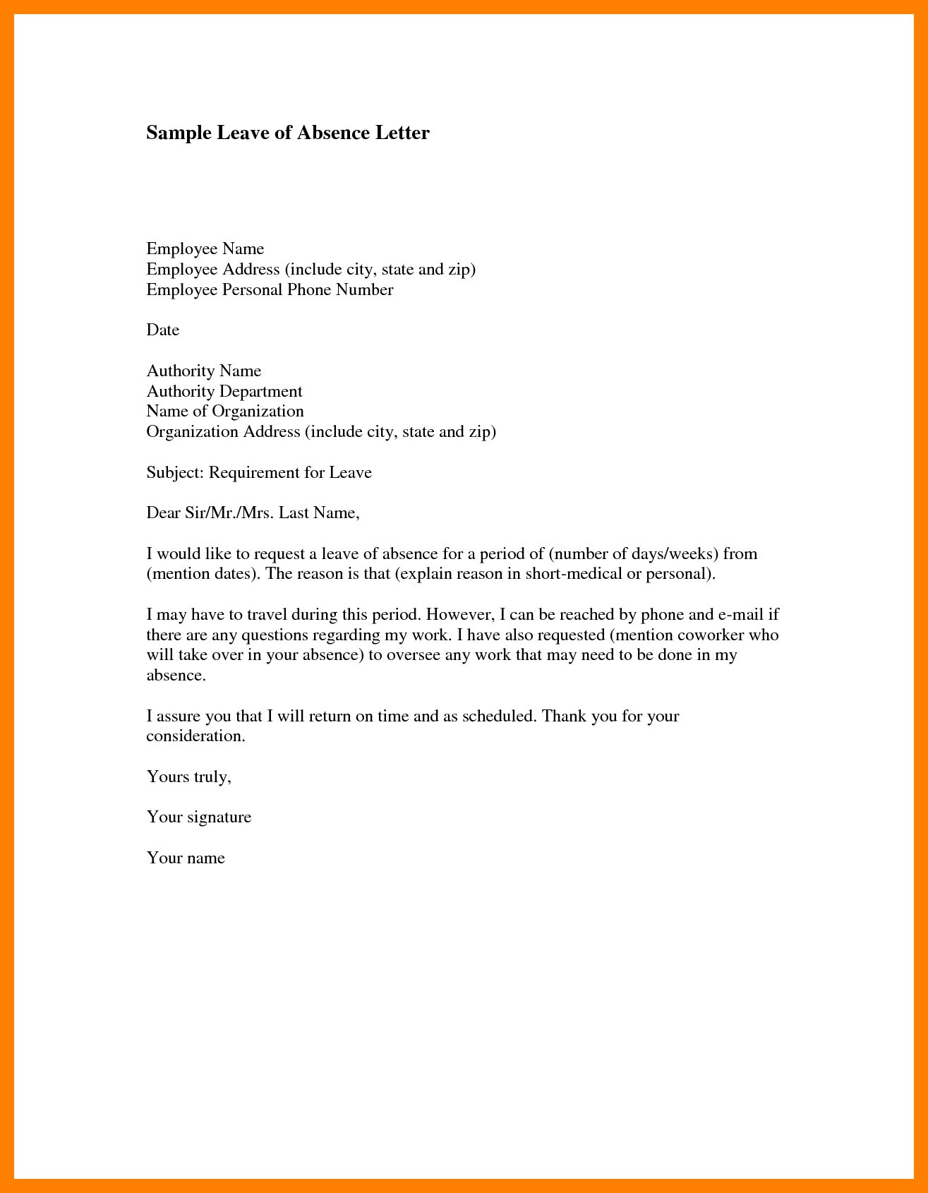 Medical leave of absence letter template examples letter templates medical leave of absence letter template leave letter format for employee new sample leave absence thecheapjerseys Image collections