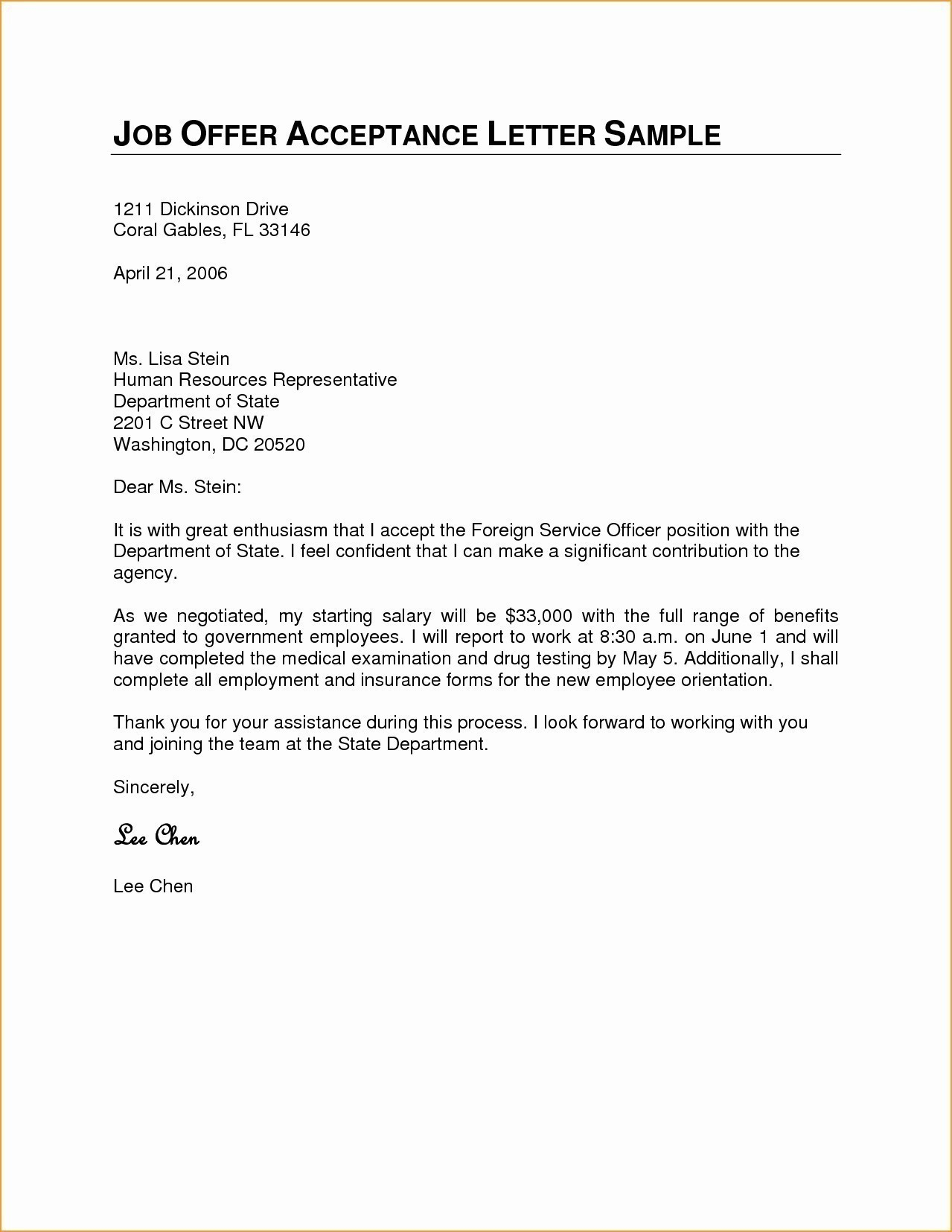 Job Offer Acceptance Letter Template - Letter Accepting A Job Fer Fresh Letters Acceptance Job Fer