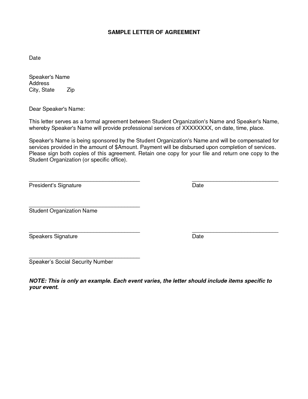 Contract Letter Template - Letter Agreement Samples Template Seeabruzzo Letter Of