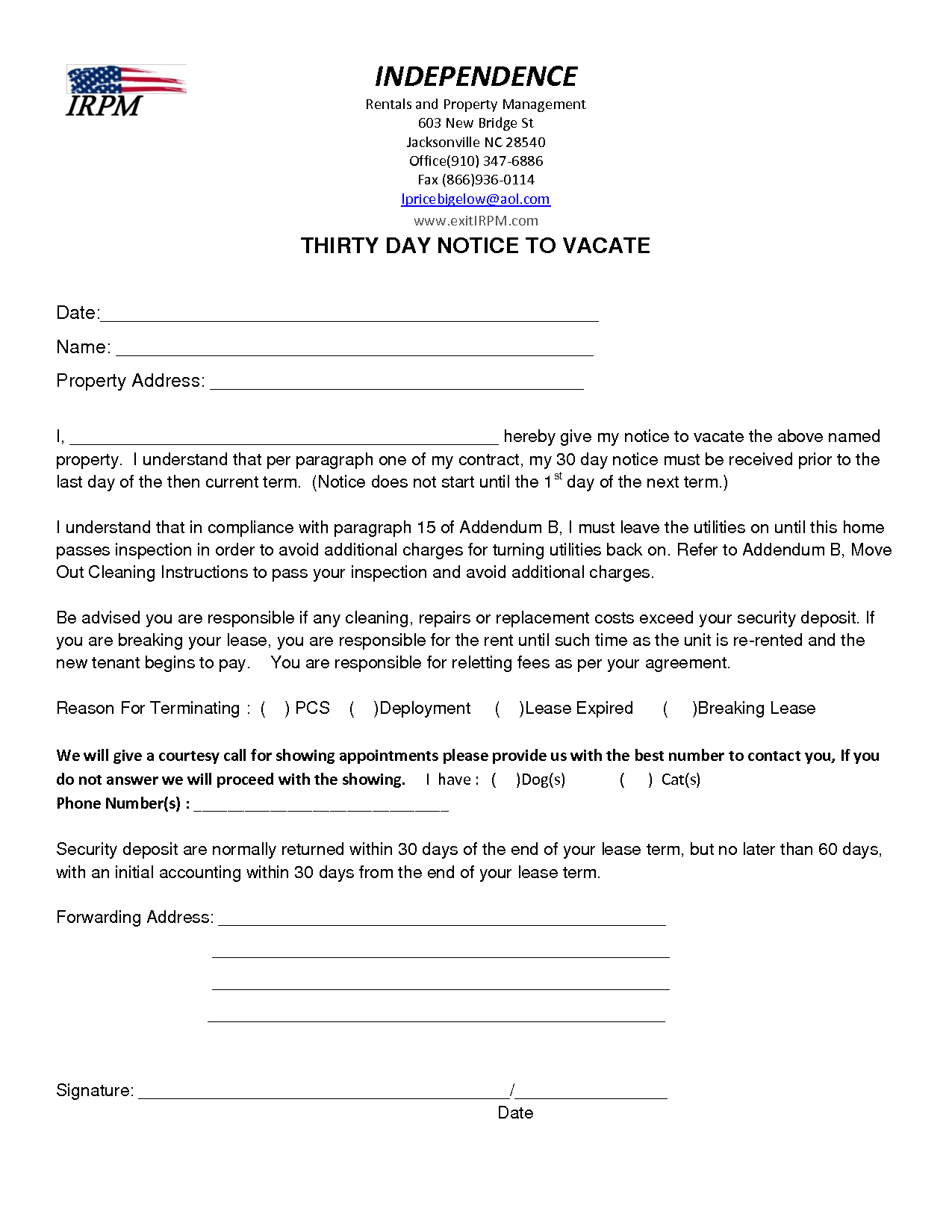 Intent to Vacate Letter Template - Letter Ent to Move From Apartment Out Notice Vacate Example