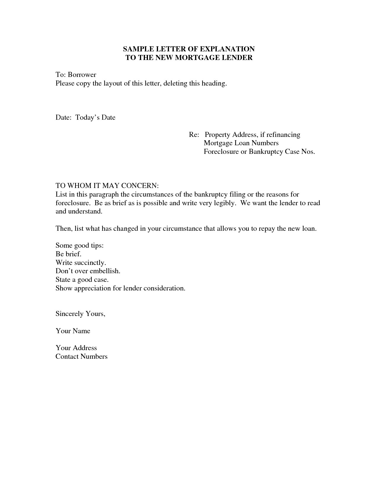 Mortgage Letter Of Explanation Template Collection | Letter Templates