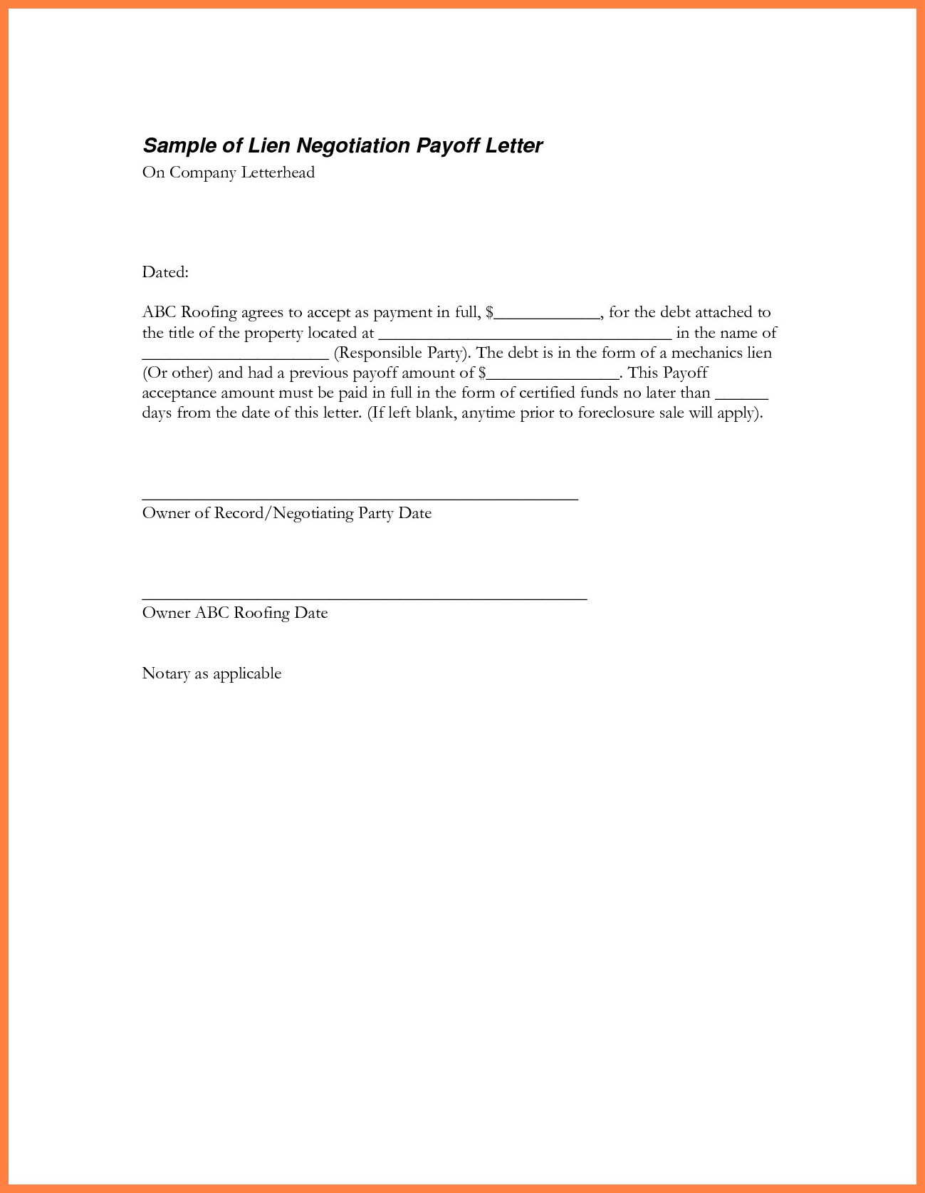 Auto Loan Payoff Letter Template Examples
