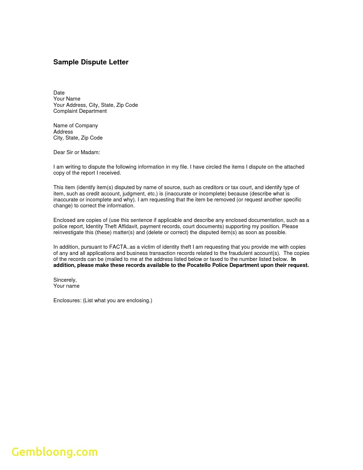 Credit Card Dispute Letter Template - Letter format for Change Department Fresh Sample Credit Report