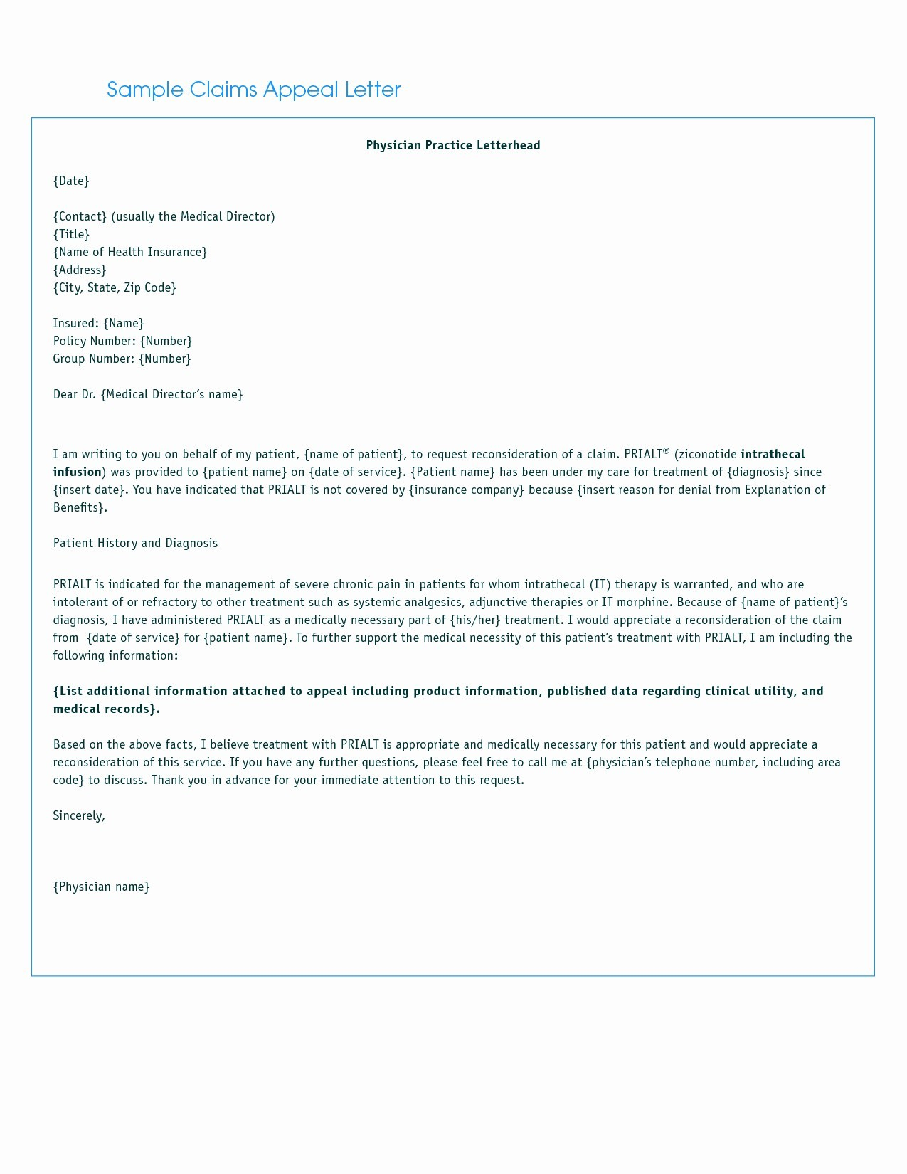 Doctor Diagnosis Letter Template - Letter format for Medical Insurance Claim Refrence Letter Insurance