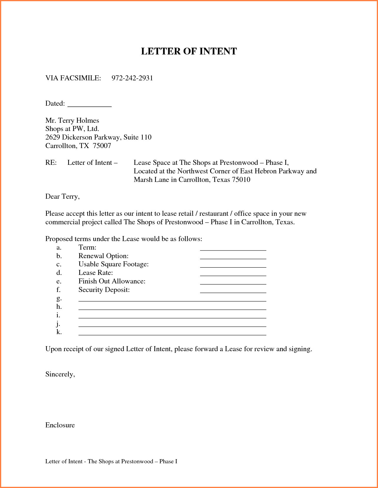 Letter Of Intent to Lease Template Free - Letter Intent for Lease Template Awesome Letter Intent for