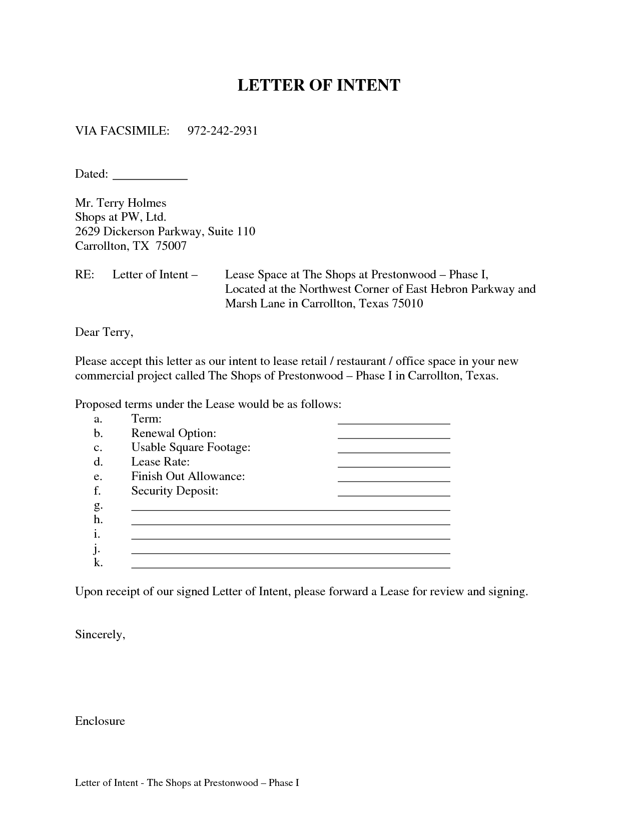 Commercial Real Estate Lease Letter Of Intent Template - Letter Intent for Mercial Lease Sample Property to Real Estate