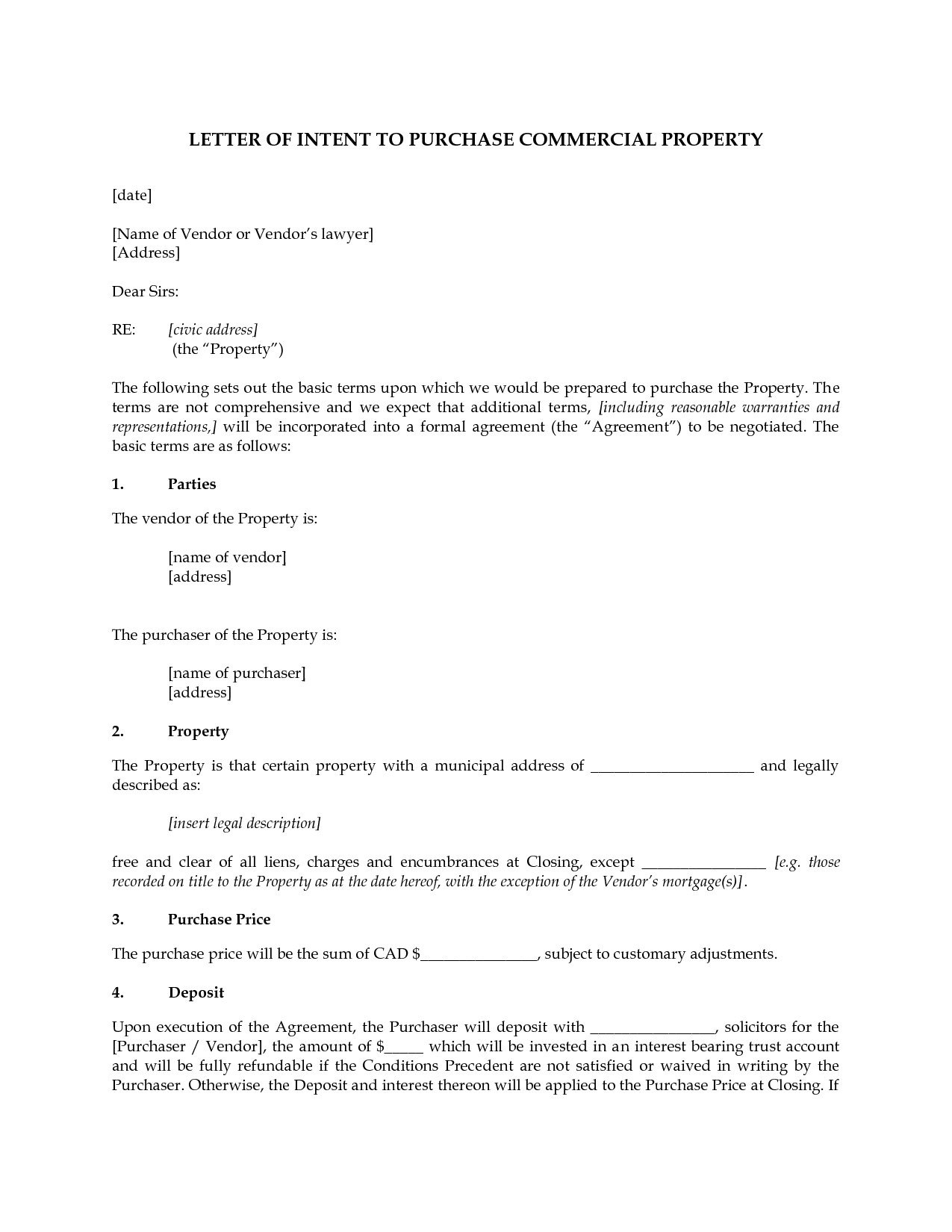 Letter Of Intent to Purchase Real Estate Template - Letter Intent for Real Estate Purchase Template