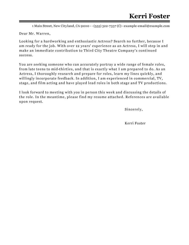 actor letter of intent template letter intent image design media entertainment actor actress