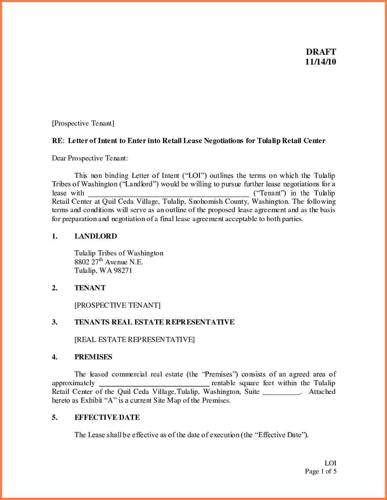 letter of intent to lease commercial property template examples