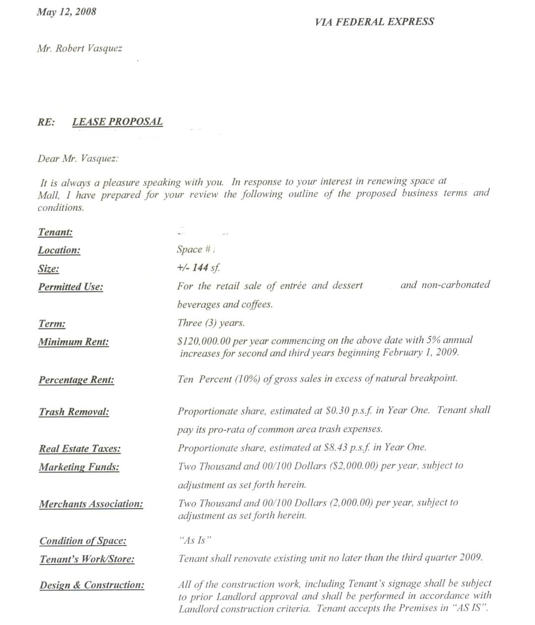 Letter Of Intent to Lease Commercial Space Template - Letter Intent Sample Restaurant Loi for Mercial Lease