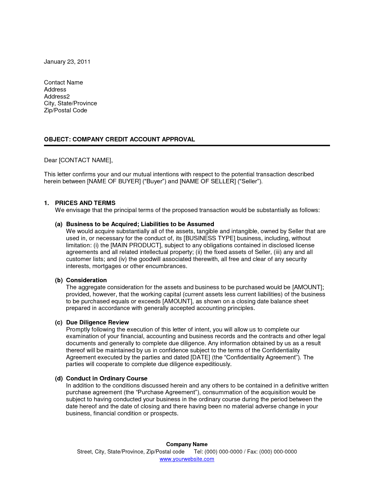 Letter Of Intent to Purchase Business Template - Letter Intent to Buy Business assets Free Purchase Word Document
