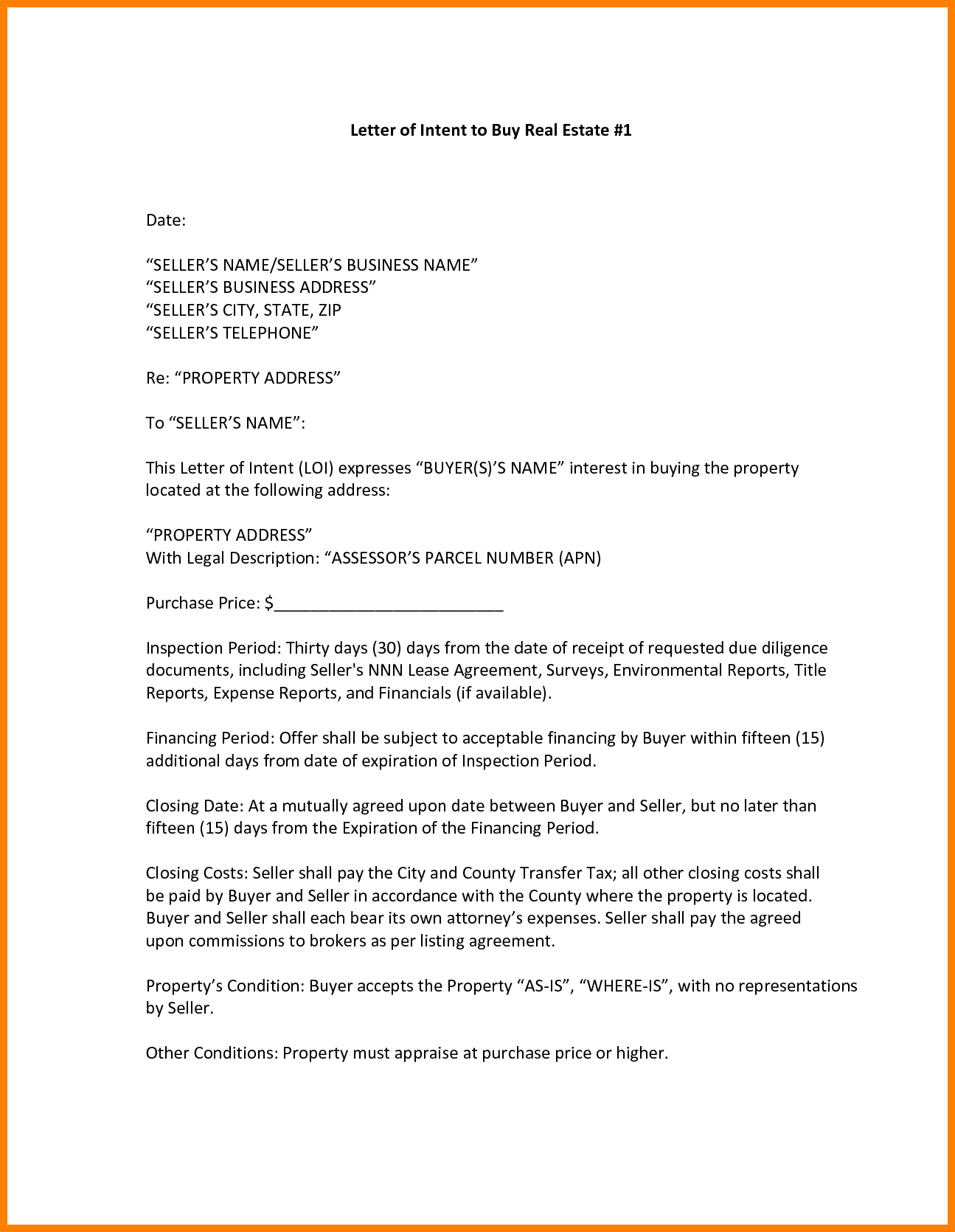 Real Estate Letter Of Intent Template Free - Letter Intent to Buy Property Samplechase Real Estate Template