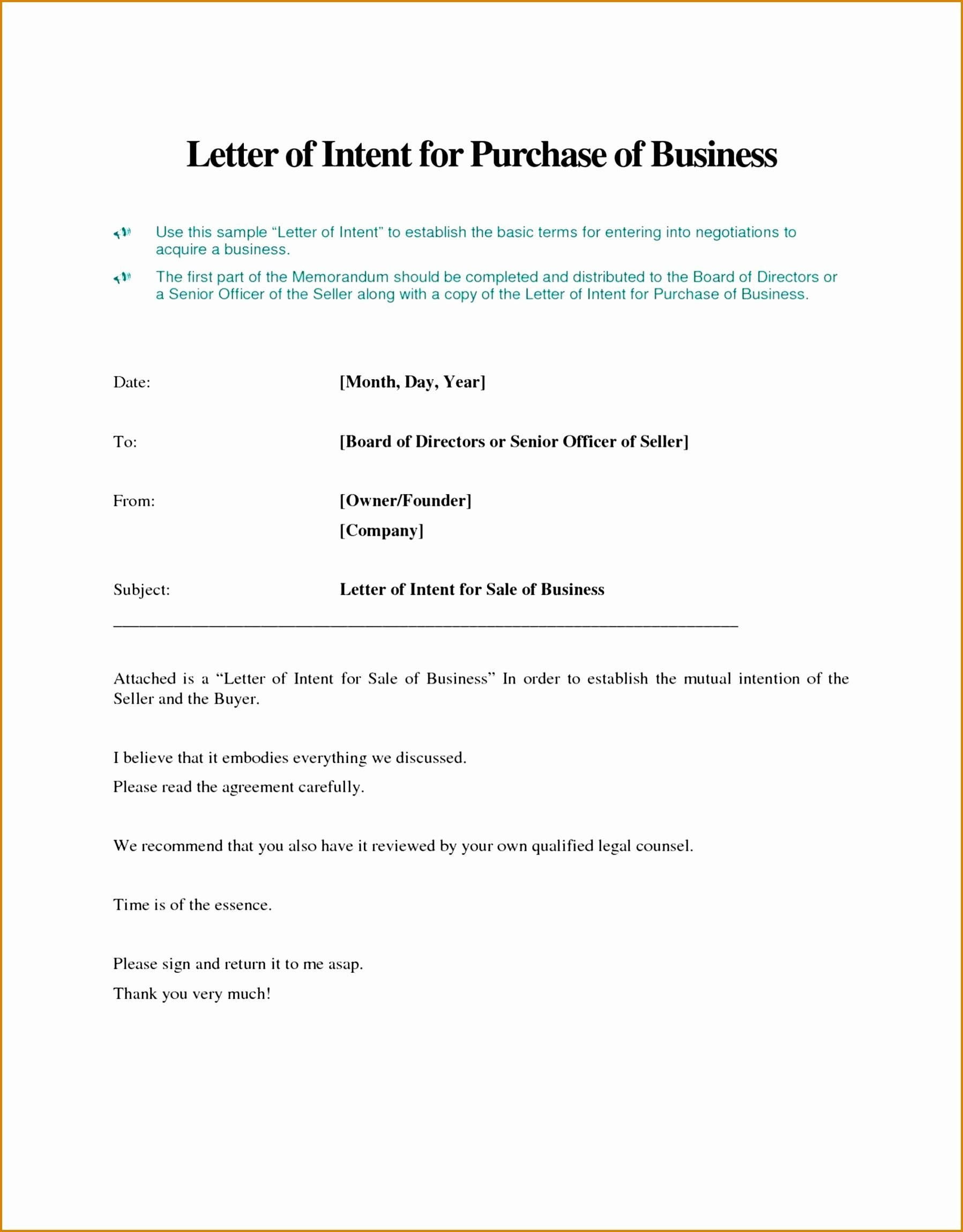 Letter Of Intent to Sell A Business Template - Letter Intent to Do Business Template Best Awesome Letter Intent