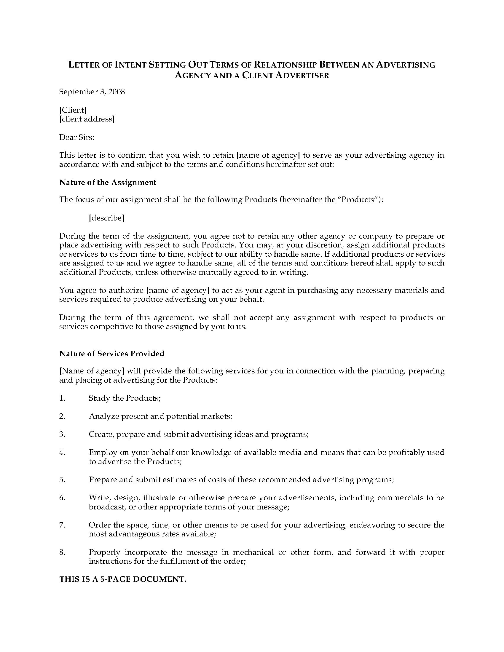 Letter Of Intent to Hire Template - Letter Intent to Hire Template