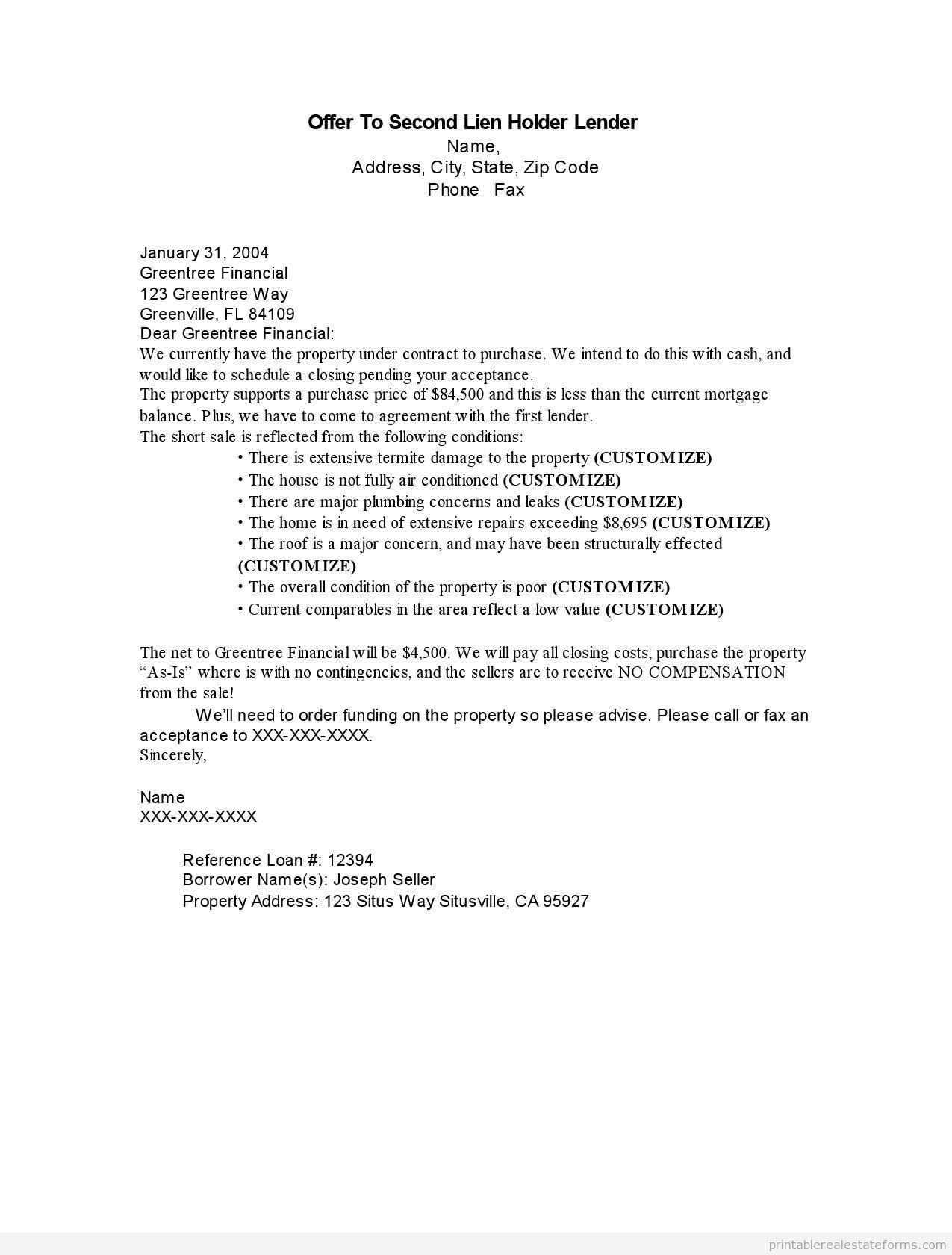 Notice Of Lien Letter Template - Letter Intent to Lien Sample Printable Fer Second Holder Lender
