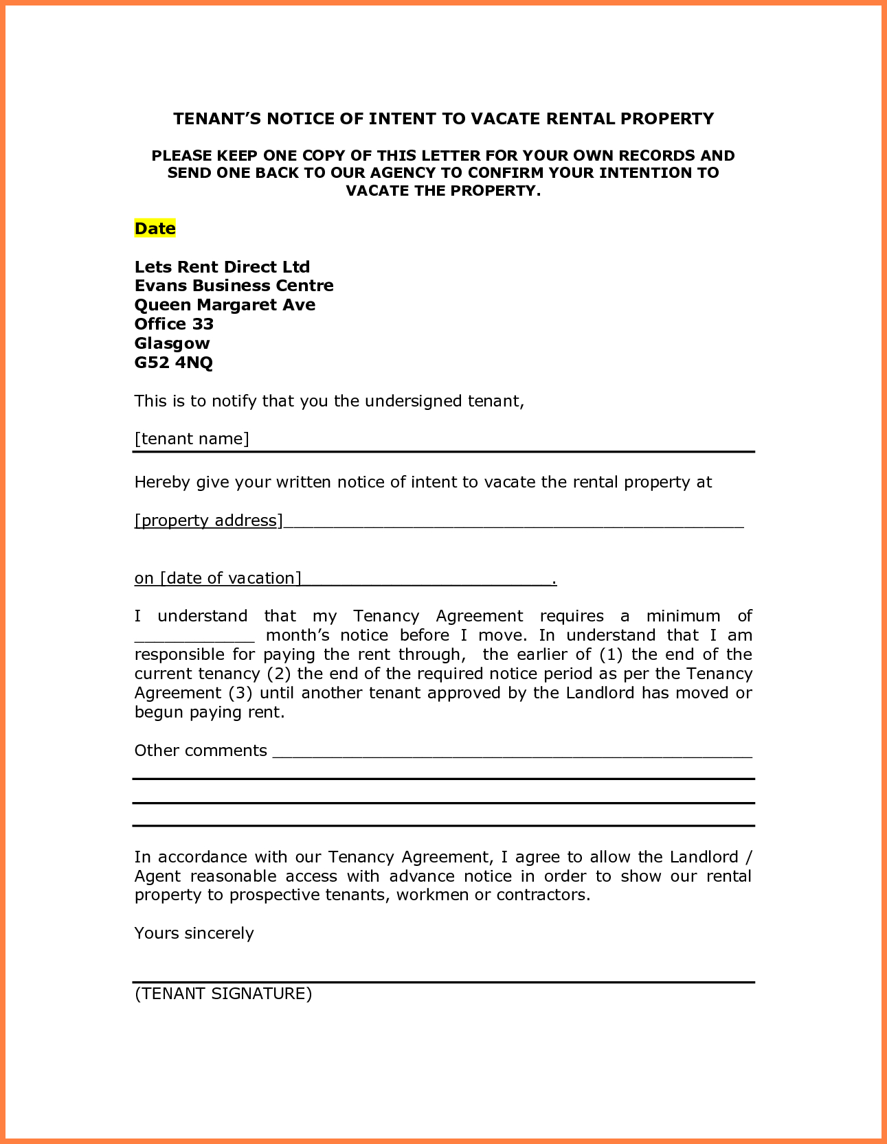 Intent to Vacate Letter Template - Letter Intent to Move Sample Notice Vacate Tenant Rentaloperty