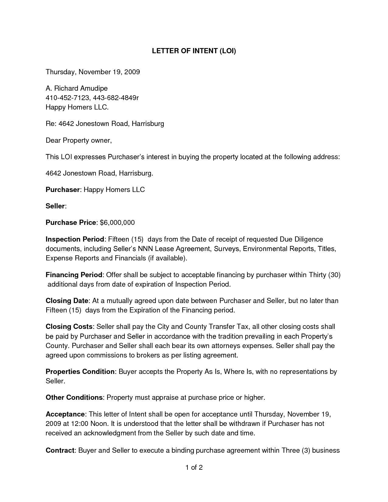 Commercial Real Estate Letter Of Intent to Purchase Template - Letter Intent to Purchase A Business Template Fresh Real Estate