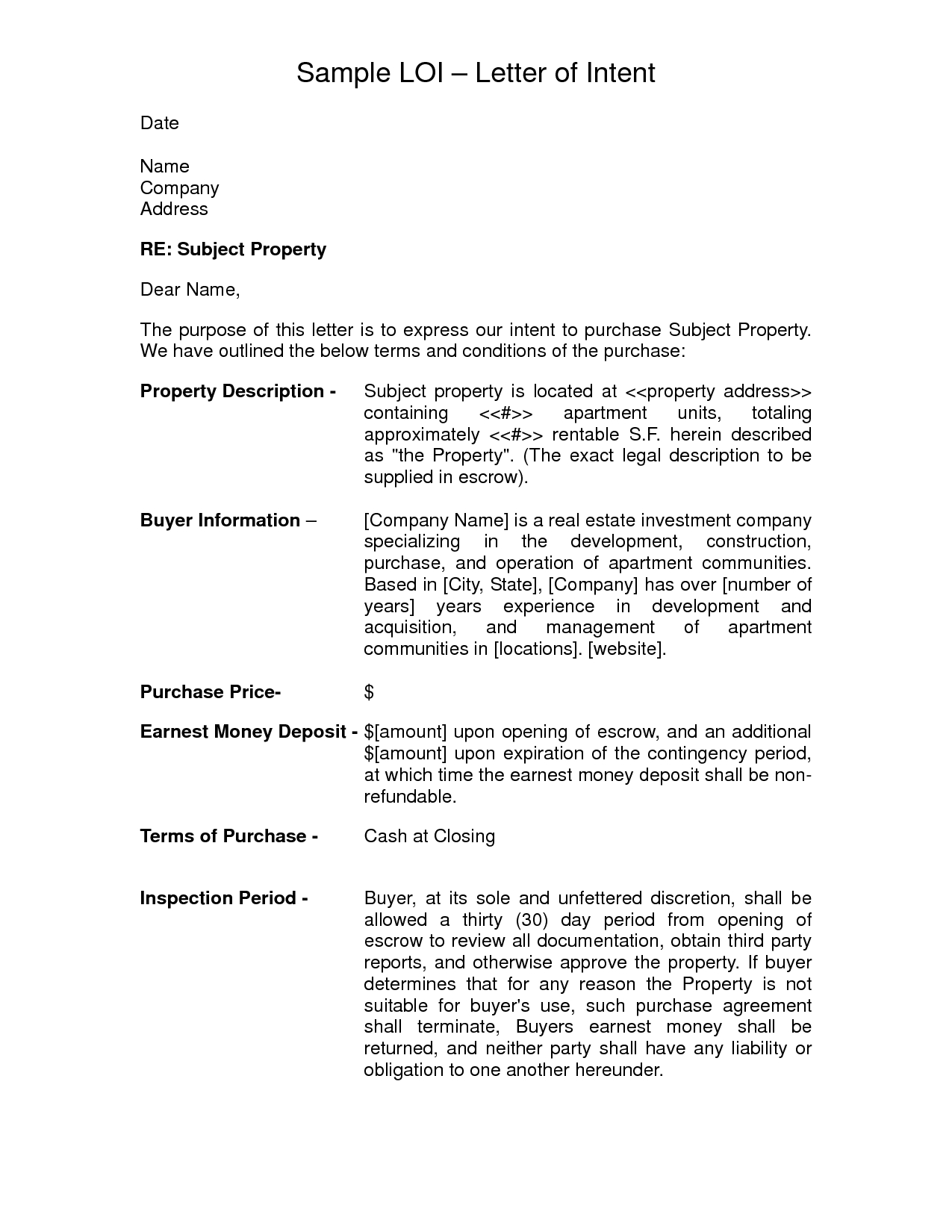 Letter Of Intent to Sell Business Template - Letter Intent to Sell Ideas Sample Real Estate Property