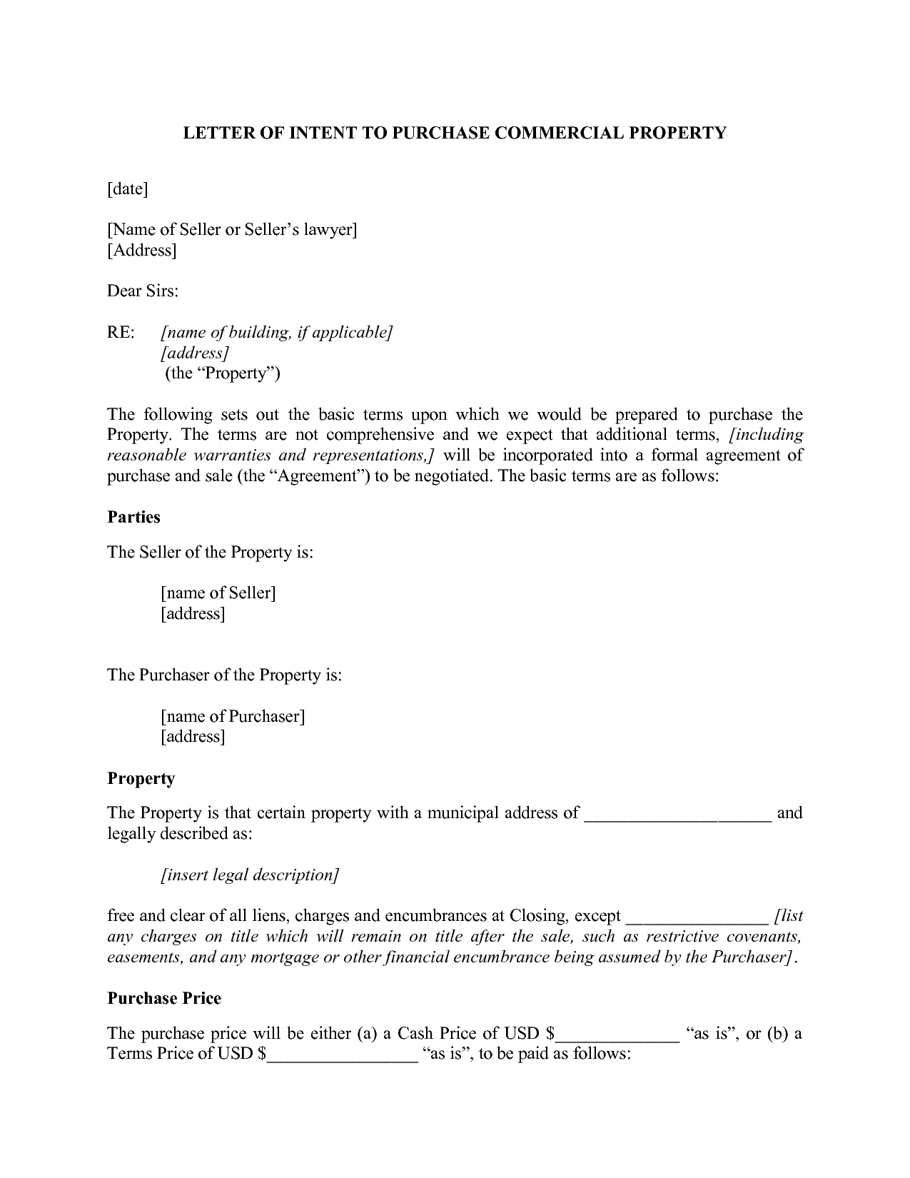 Commercial Real Estate Letter Of Intent Template - Letter Nt Best S Property Template Purchase Real Estate