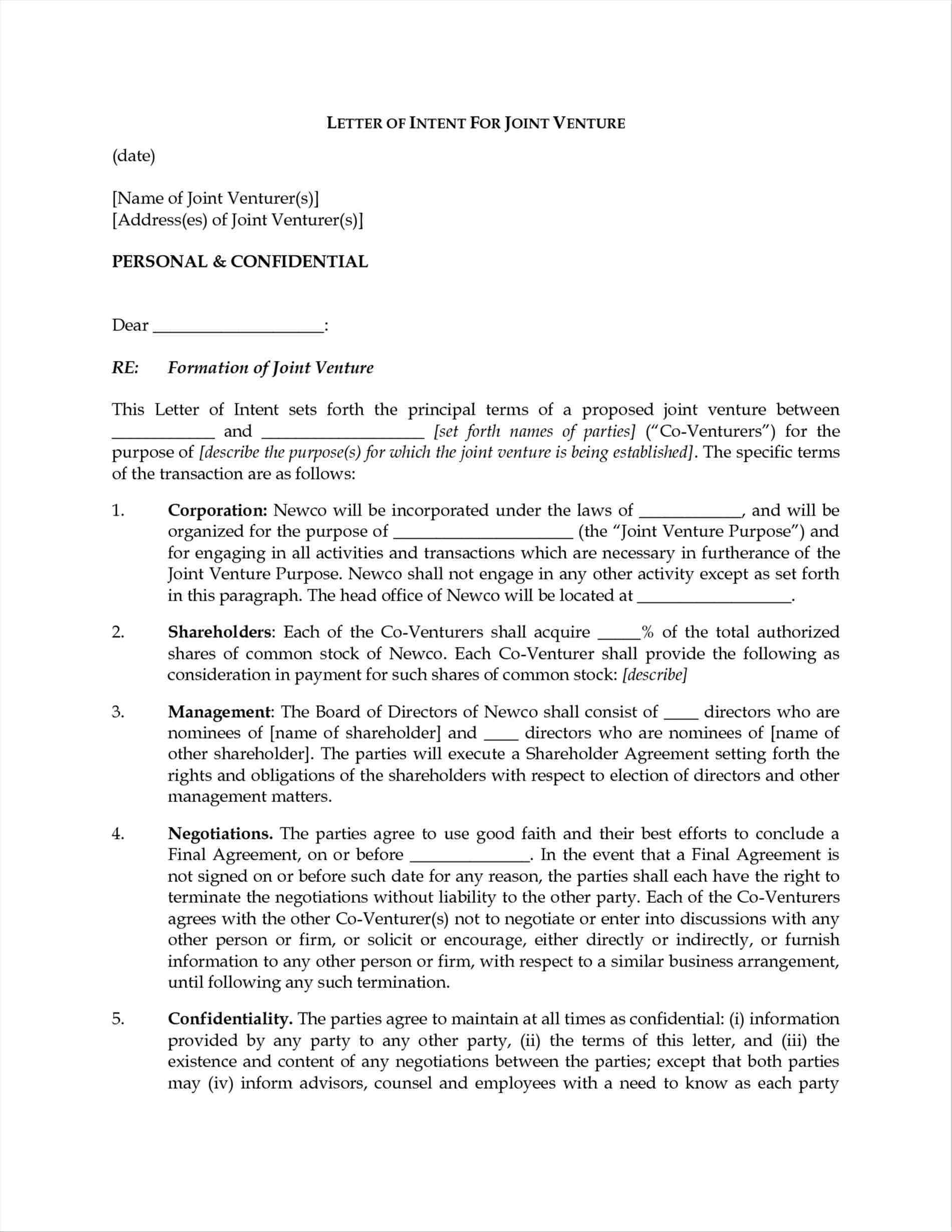 joint venture letter of intent template Collection-letter of intent form 7-q