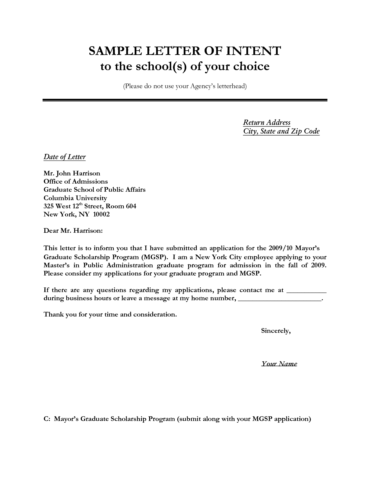 Lien Letter Template - Letter Of Intent Sample