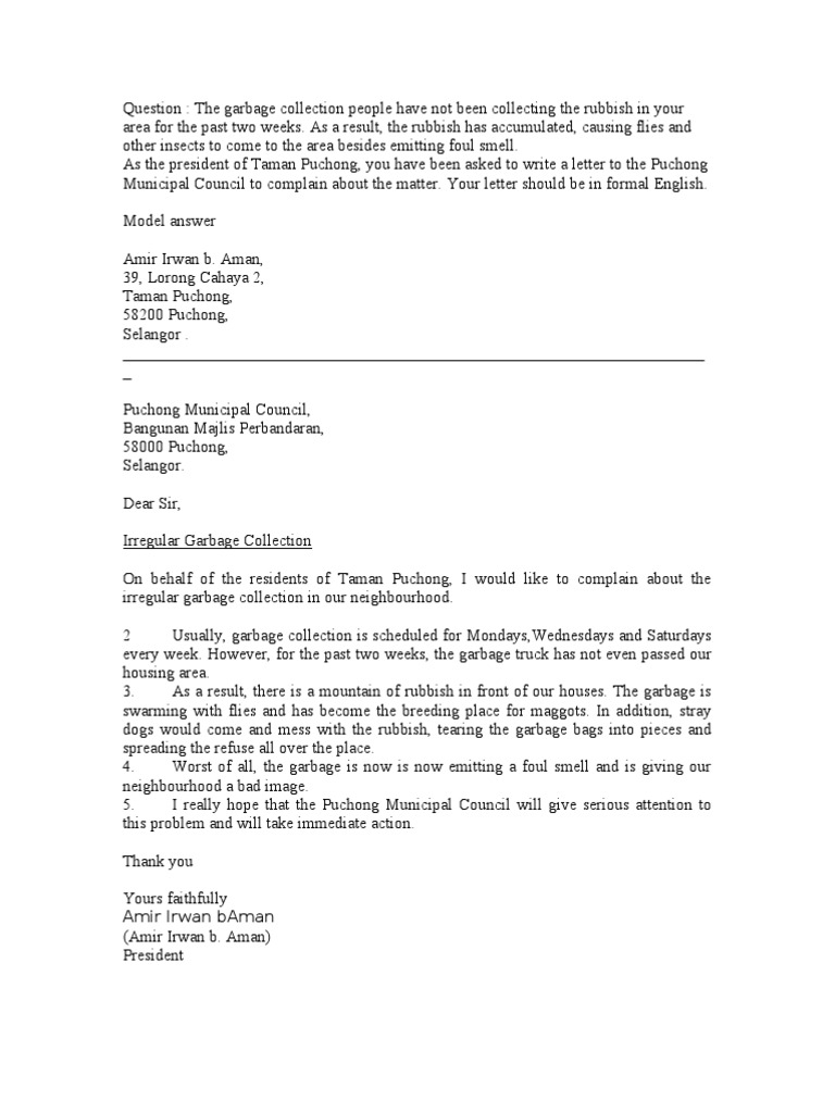 Neighbour Complaint Letter Template - Letter Of Plaint Garbage