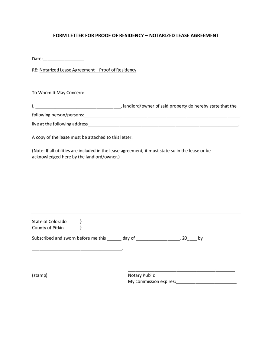 Proof Of Residency Letter Notarized Template - Letter Proof Residence