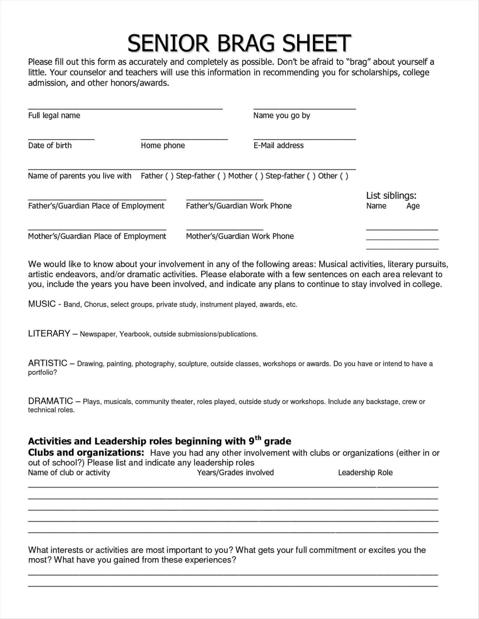 Brag Sheet Template for Letter Of Recommendation - Letter Re Mendation Brag Sheet