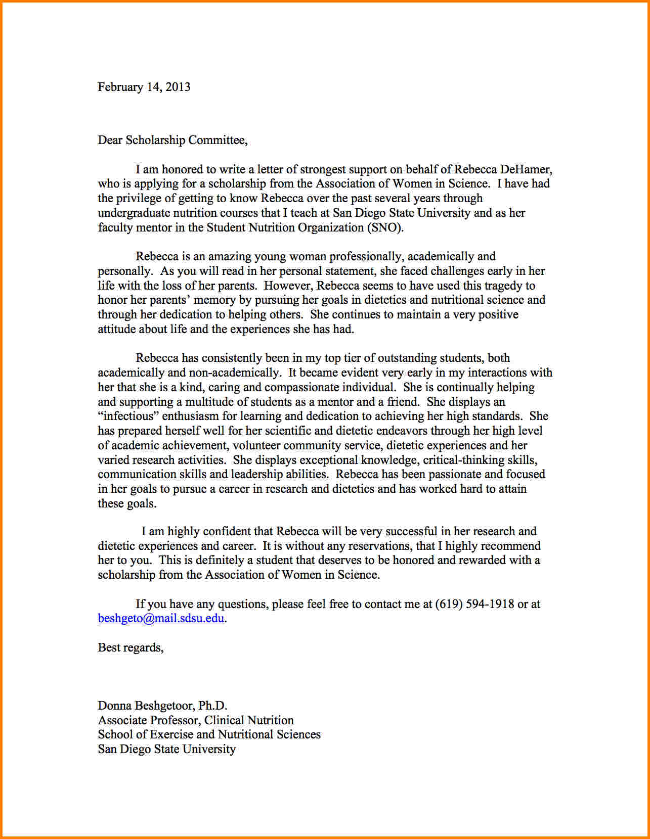 scholarship reference letter template examples