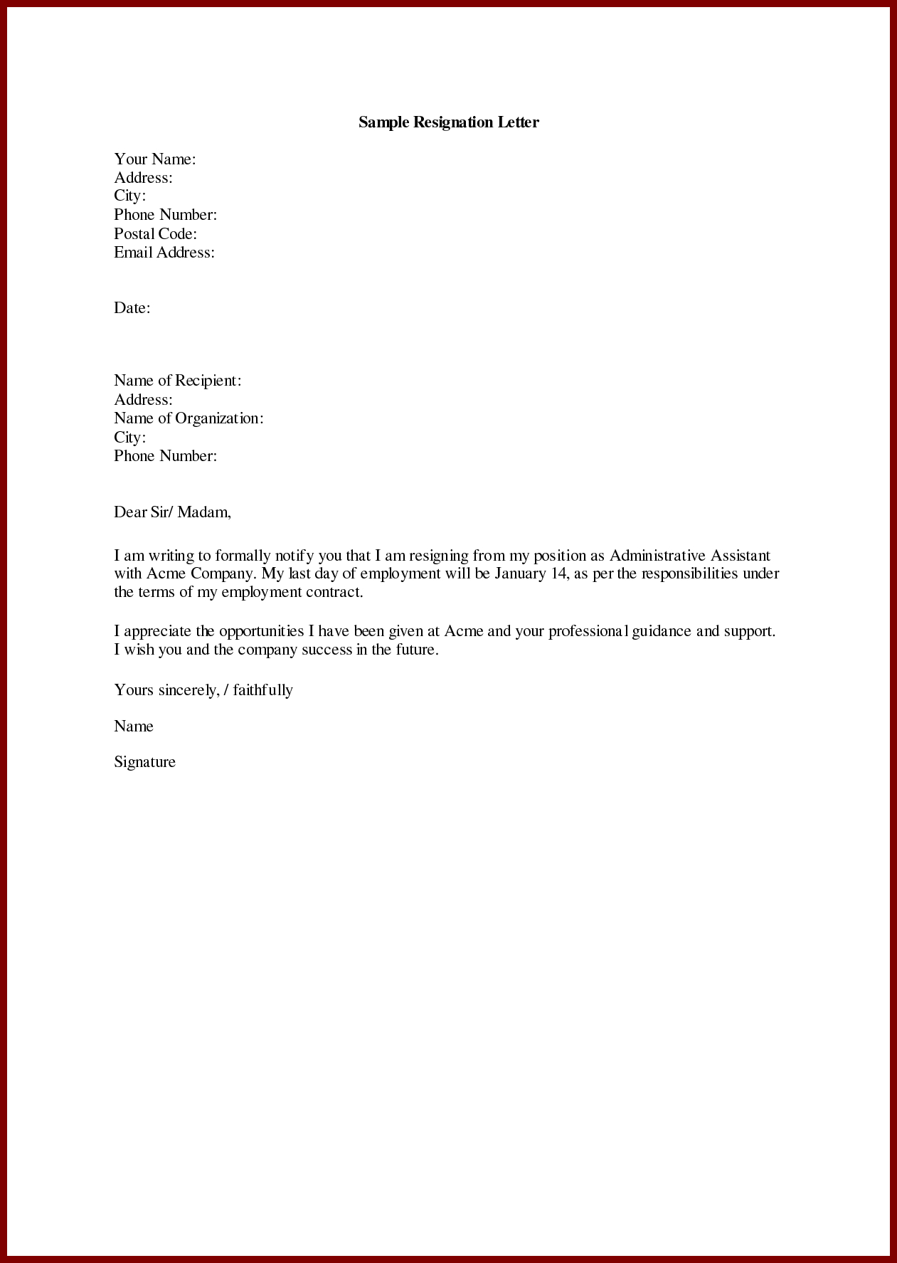 Resignation Letter Template Word Free - Letter Sendletters Throughout Resignation Sample Simple Objection