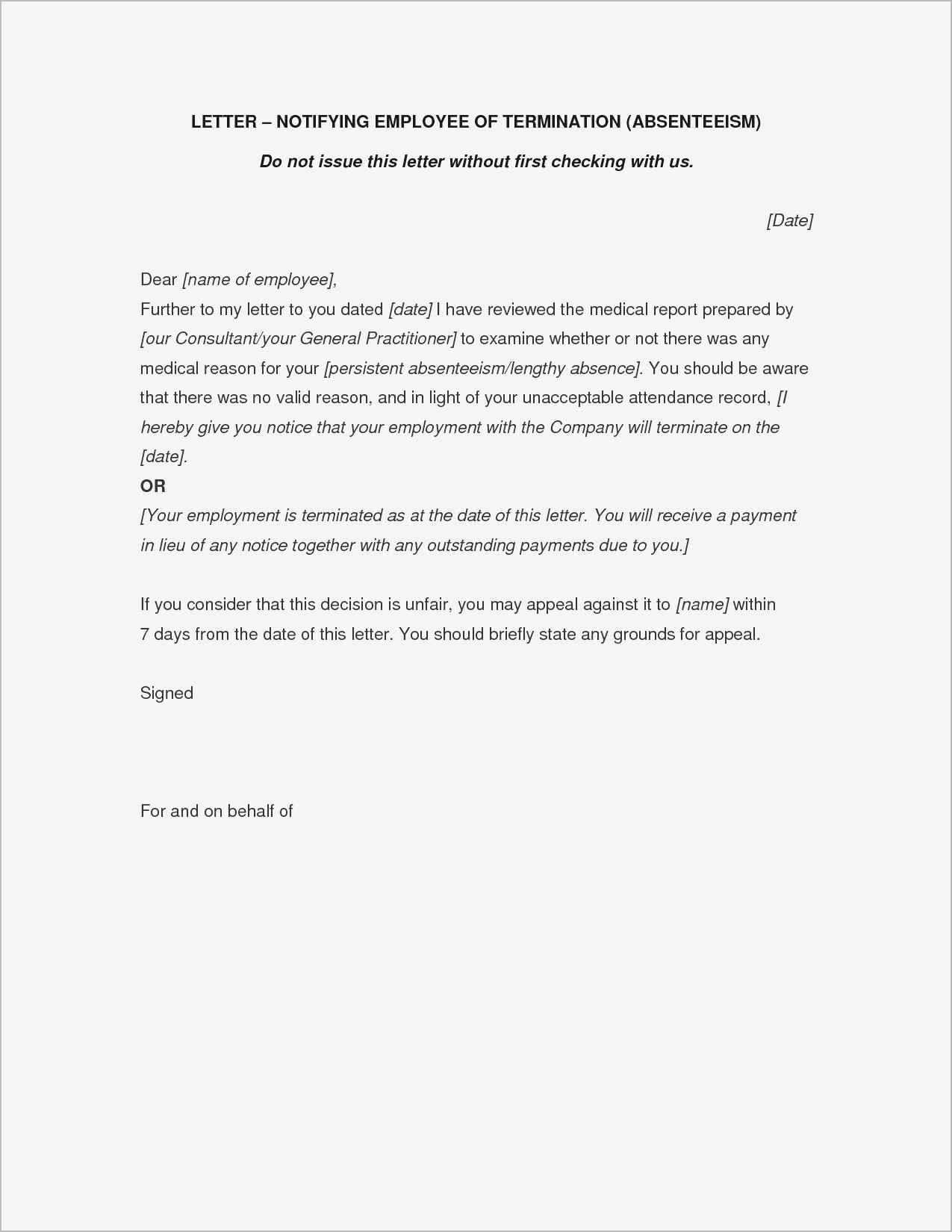 Letter Of Separation From Employer Template - Letter Separation From Employer Pdf format