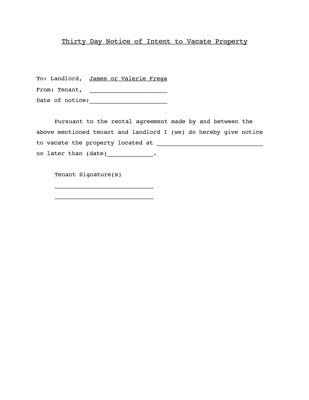 Lease Default Letter Template - Letter Template for Giving Notice Flat Copy Resignation Letter